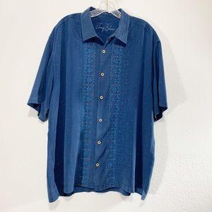 TommyBahama Silk Embroidered S/S Blue XL V578